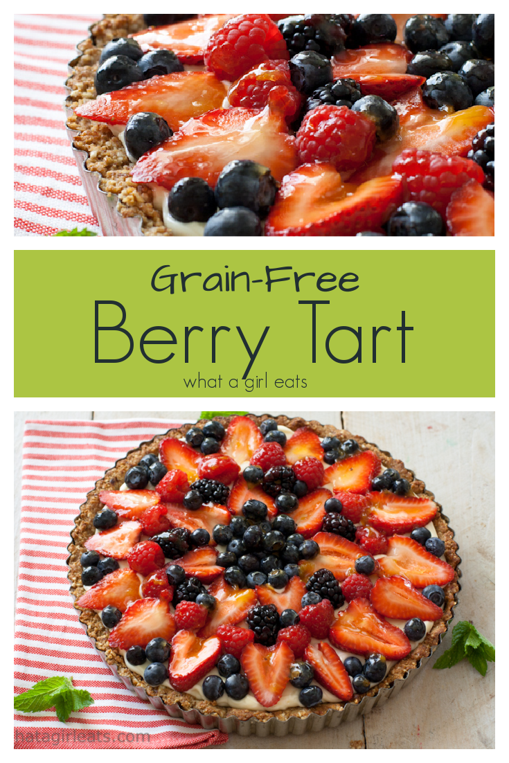 Grain free red, white and blueberry tart is filled with a lemon curd filling and topped with fresh seasonal fruit