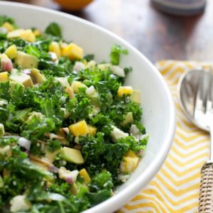 Kale Salad with mango and feta