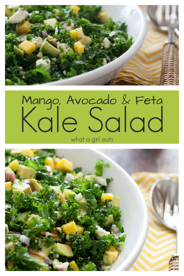 Kale salad with mango, avocado, and feta. Full of flavor, this salad is perfect as a side dish, or lunch. Naturally gluten free.