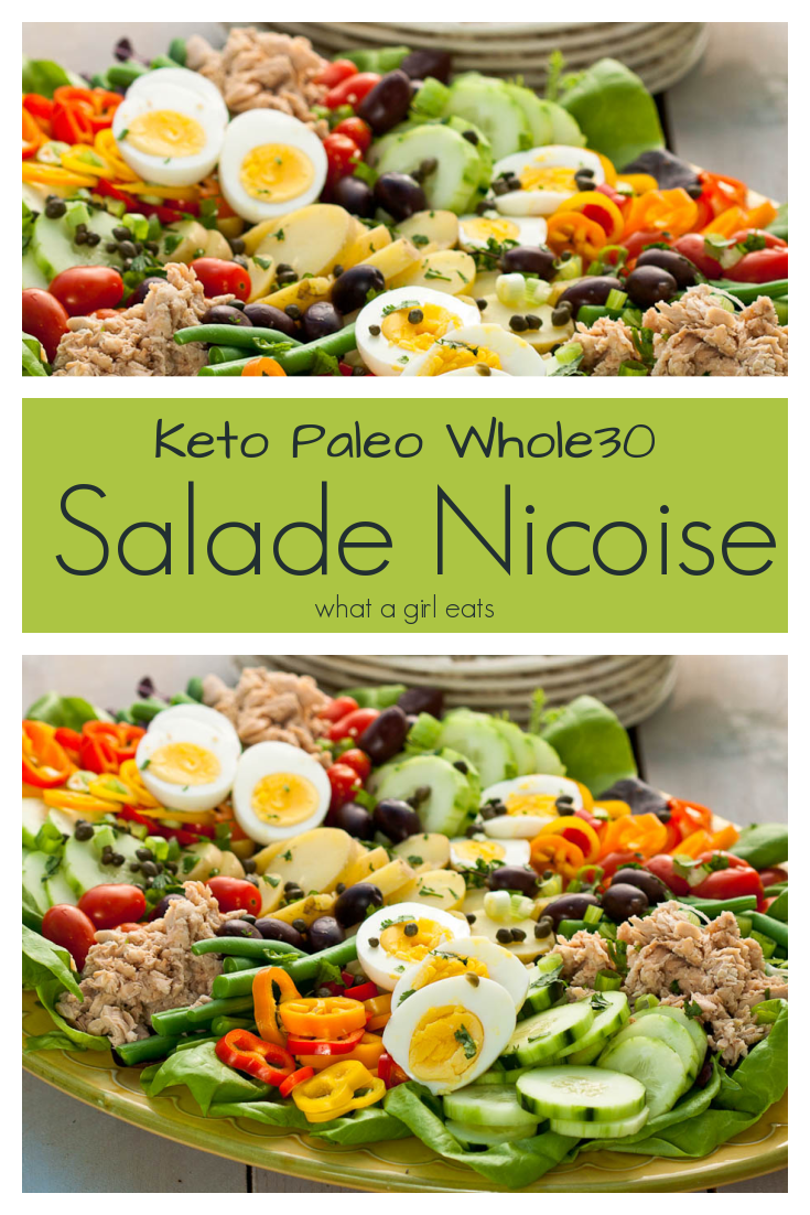 Nicoise salad is classic French salad with hard boiled eggs, a colorful variety of vegetables in a homemade vinaigrette. Wild Alaskan salmon replaces the tuna. Low carb, Whole30 compliant, keto friendly and paleo.