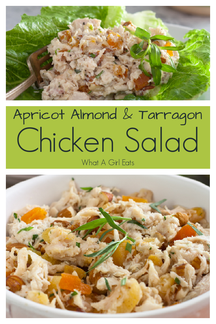 This delicious, all white meat chicken salad has crunchy almonds, sweet apricots and tarragon in a creamy mayonnaise dressing.