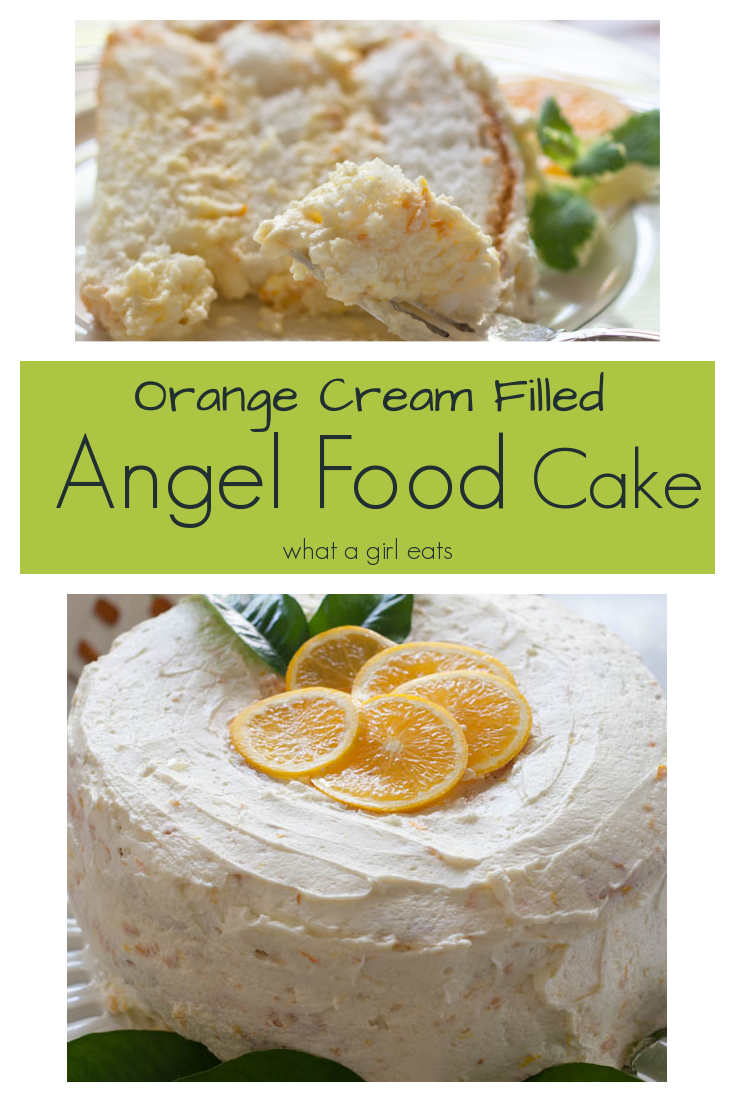 Angel food cake filled with orange cream mousse and topped with orange buttercream.