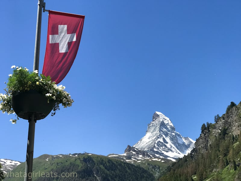 Matterhorn and Swiss flag