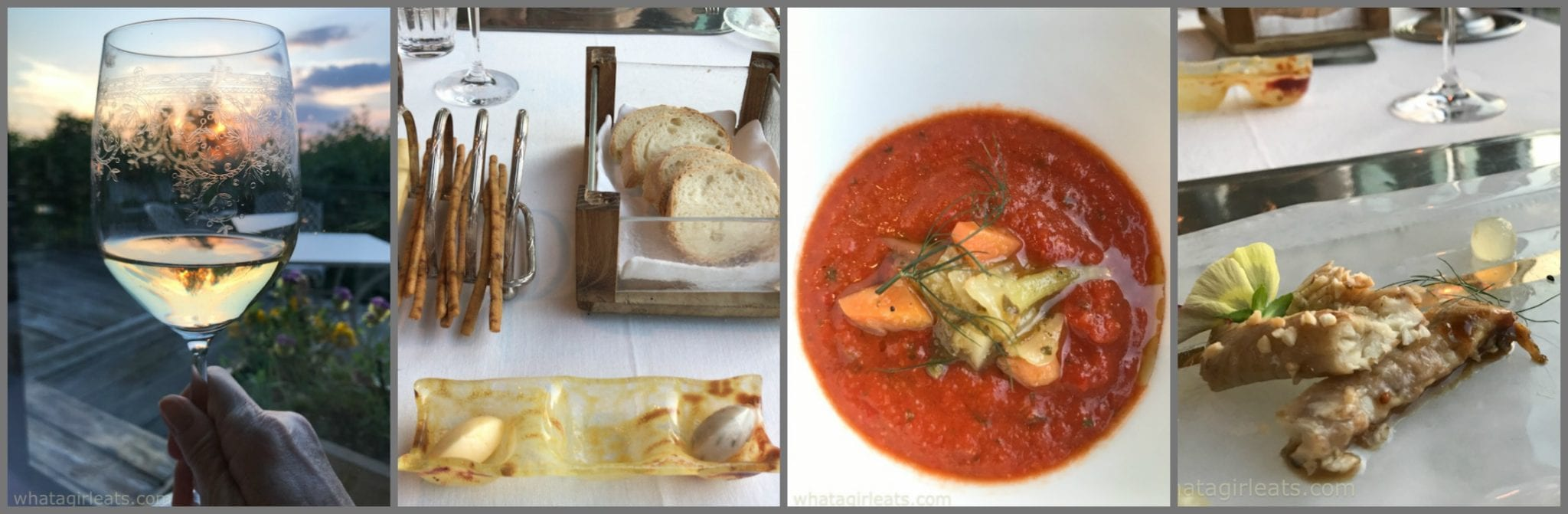 collage of wine bread, gazpacho and eel from antica corte pallavicina;A Slow-Food Dining Experience in Emilia-Romagna