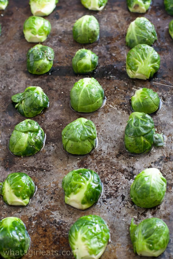 Brussels sprouts on baking sheet