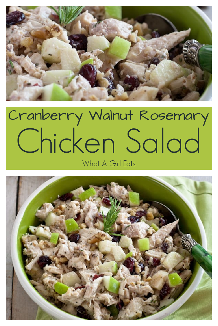This chicken salad is loaded with crisp green apples, sweet cranberries, crunchy walnuts and fresh rosemary for a delicious salad or sandwich filling.