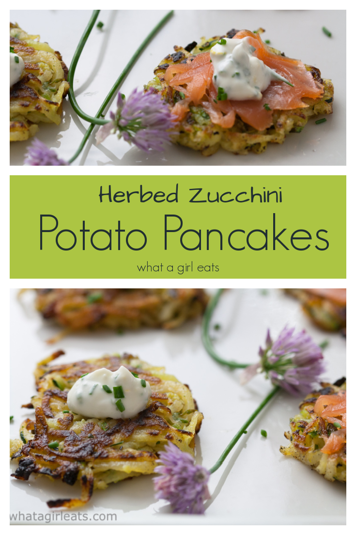 Herbed Zucchini and Potato Pancakes with Lemon Chive Sauce are a delicious appetizer or side dish. Gluten free.