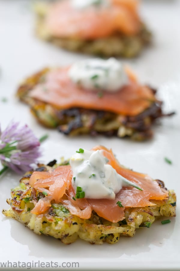 zucchini pancake with smoked salmon