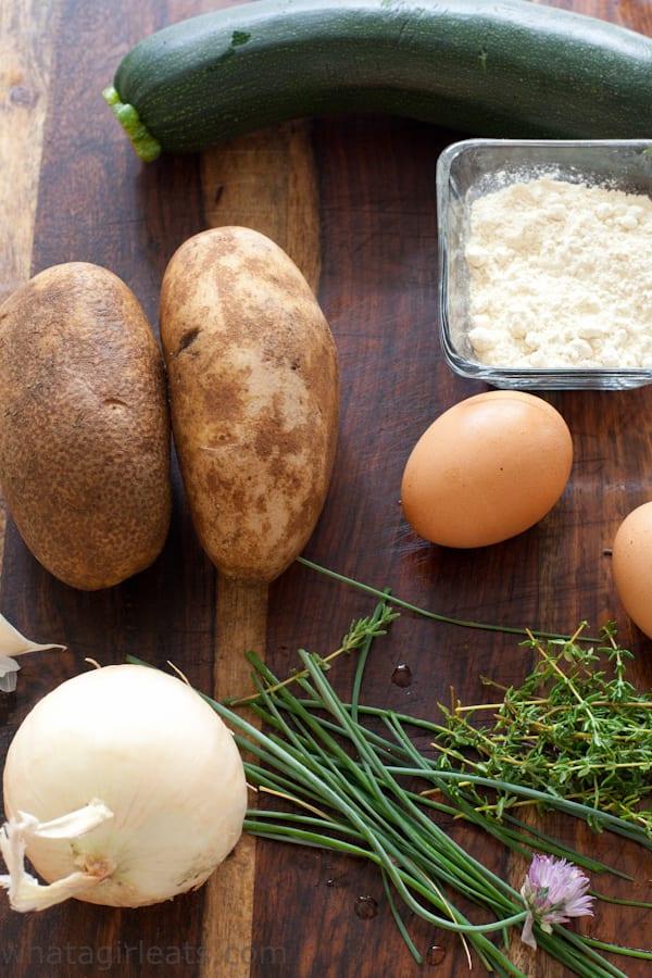 Vegetable pancake ingredients