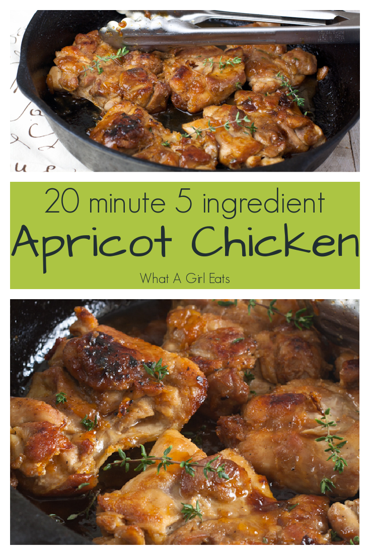 apricot glazed chicken is a quick and easy meal ready in under 20 minutes. Only five ingredients and it's gluten free and paleo friendly.