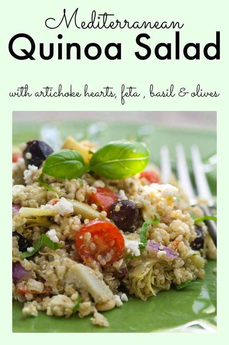 Mediterranean Quinoa Salad with artichoke hearts, feta cheese, basil and olives. #mediterraneandiet #quinoasalad #quinoa #healthysalad #saladrecipe #salad