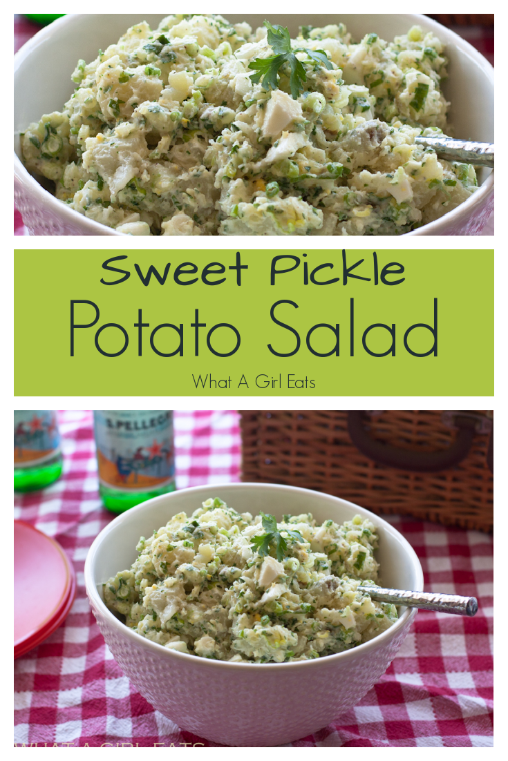 This classic potato salad is one of the best. Sweet pickles and parsley and hard boiled eggs make this a picnic and potluck regular.