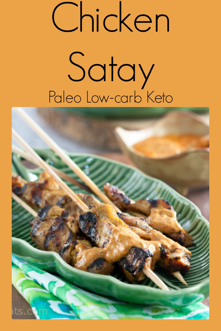 Chicken satay with cashew sauce is paleo, low carb and keto.