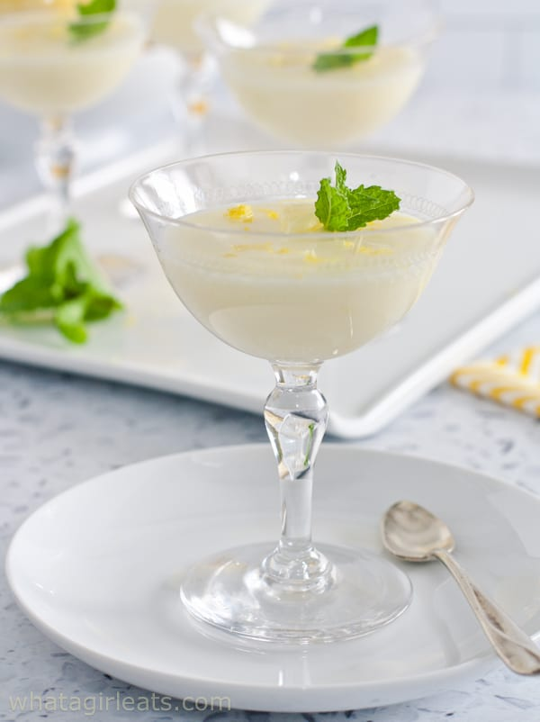 lemon posset in crystal glass