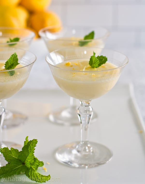 Lemon Posset on white tray