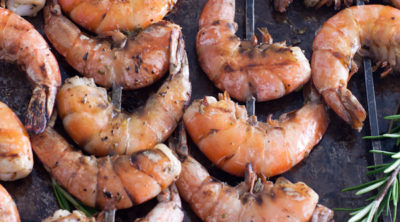 shrimp on baking sheet