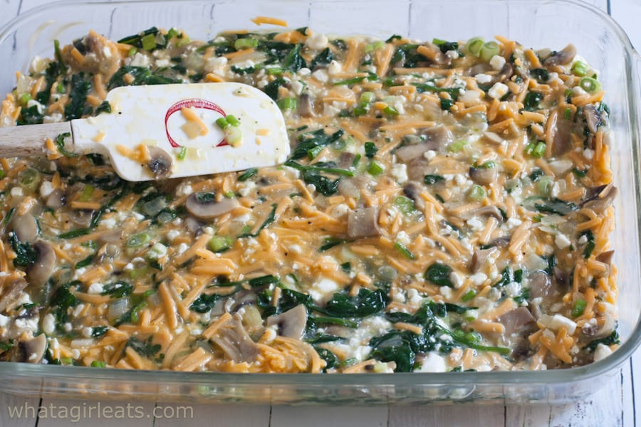 Smoothing the spinach mushroom casserole