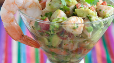 Shrimp ceviche in a glass
