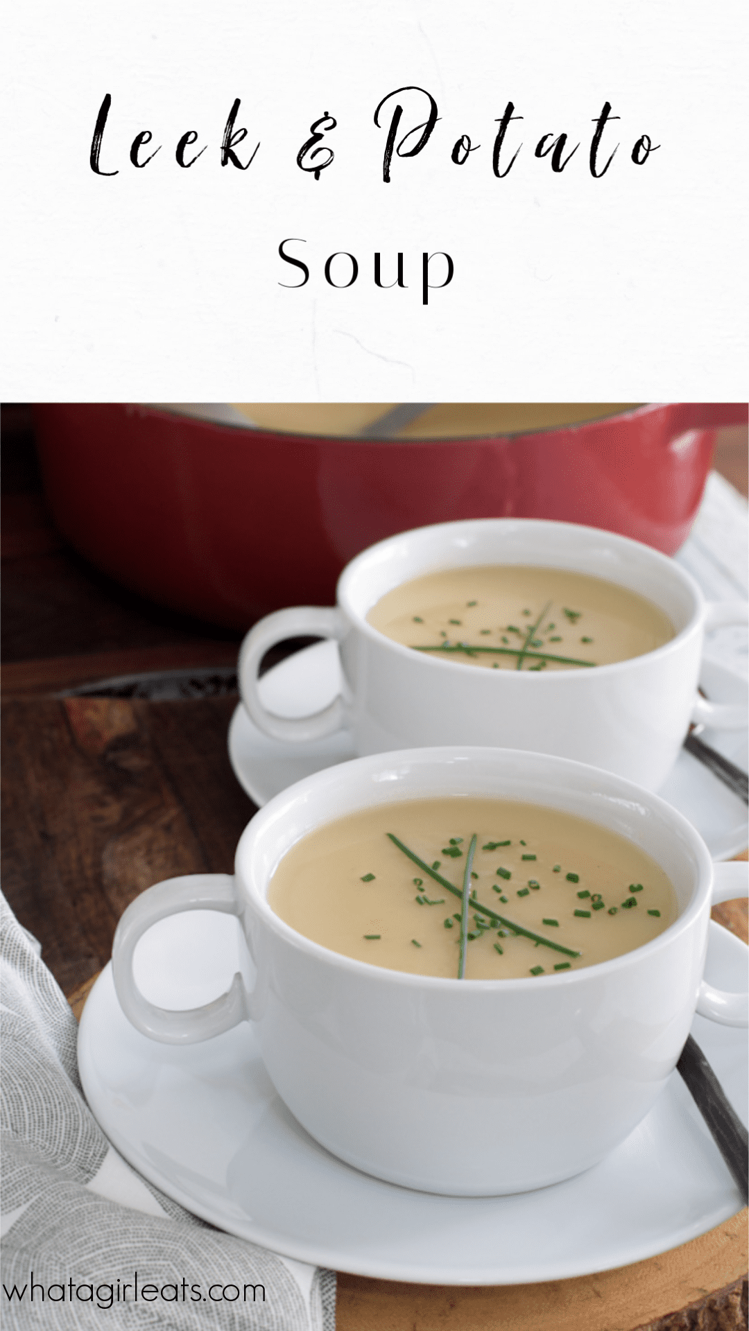 Classic leek and potato soup is a budget friendly and easy recipe. Add cheese and bacon for baked potato soup. Swap out the chicken broth for vegetable stock for a vegetarian version.