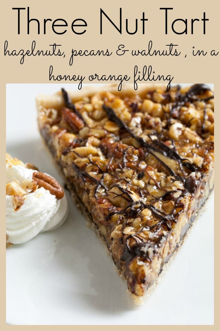 This chocolate nut tart is a combination of three kinds of nuts with honey and orange.