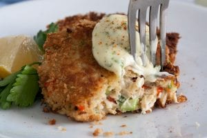 crab cake with fork