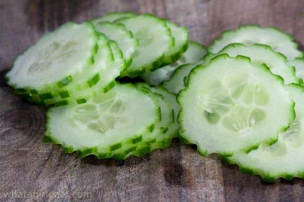 Thin sliced cucumber