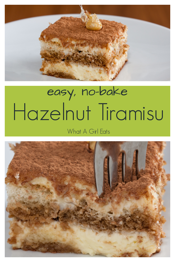 This Tiramisu is laced with hazelnut liqueur and layered with custard and candied hazelnuts.