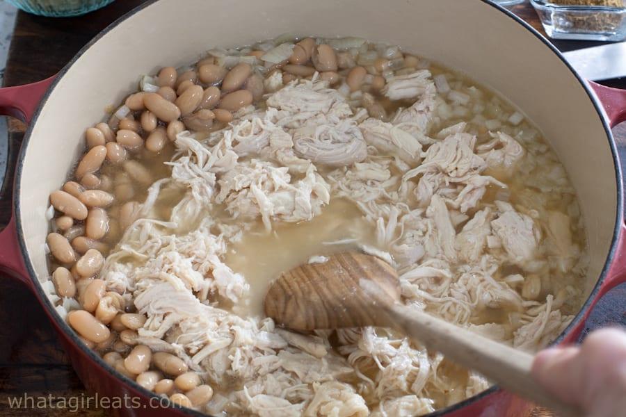 Add chicken to pot
