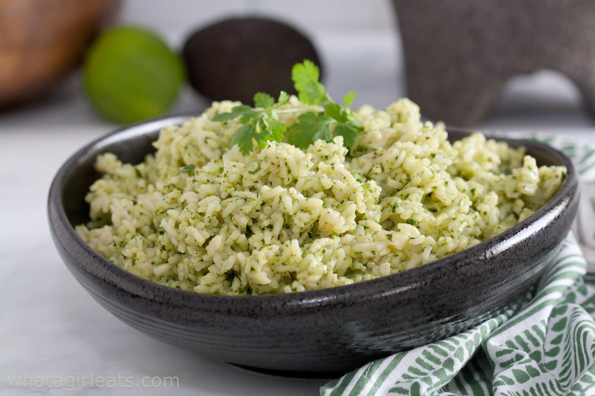 cilantro rice closeup