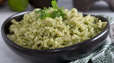 cilantro rice close up