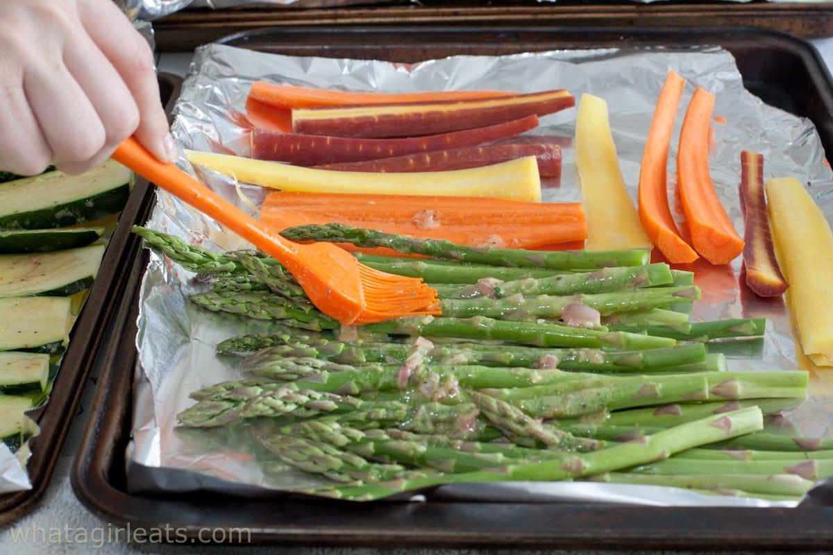 Carrots and asparagus