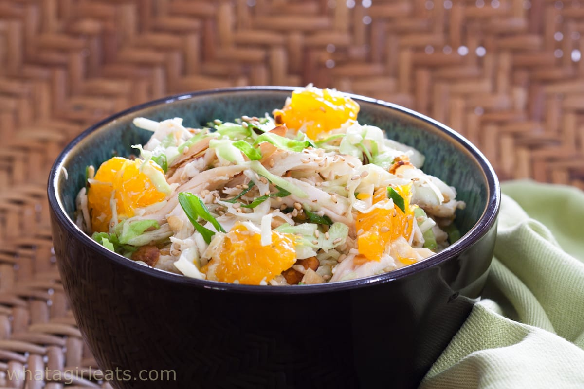 chicken salad on bamboo